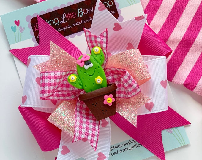 """Cactus Hairbow -- hot pink and pink cactus 5"""" hairbow with optional headband"""