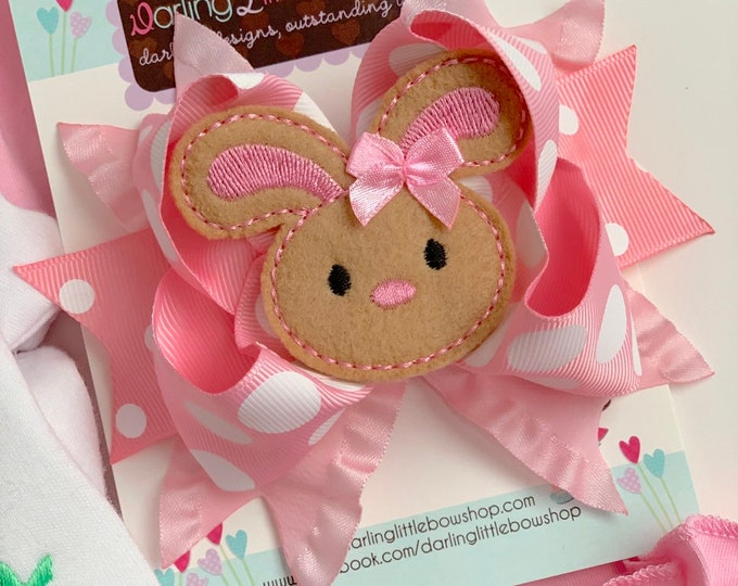 Easter Bunny Bow -- pink and white Easter Bow -- Hippity Hop -- Large bow with bunny center