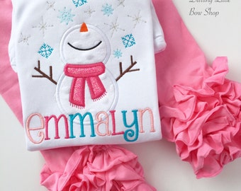 Snowman Bodysuit OR Shirt for Girls -- Winter Wonderland -- pink, hot pink, turquoise and silver -- for Christmas and Wintertime