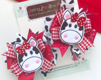 Cow Bows -- down on the farm --  cow hairbows, Pigtail Bow Set for cow lovers