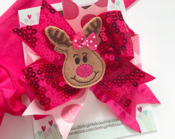 Rudy Reindeer Bow with pink and hot pink sparkly ribbons -- beautiful Christmas bow
