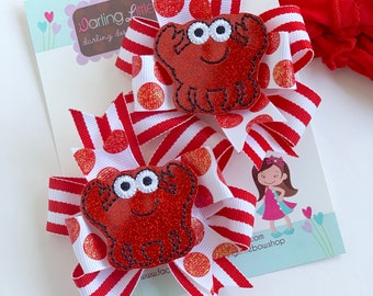 Crab hairbows -- Crabby But Cute --  crab theme hairbow in red and white stripe and glitter dots, choose single bow or pigtails