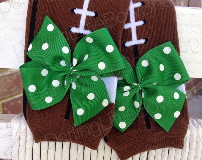 Baby Girl Football Leg Warmers -- football-style leg warmers - Regular or Newborn Size - You CHOOSE colors to match YOUR TEAM