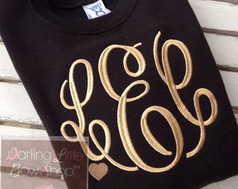 Monogrammed Sweatshirt for toddlers and girls - Sweetheart Sweatshirt - black with heart accent in color of your choice