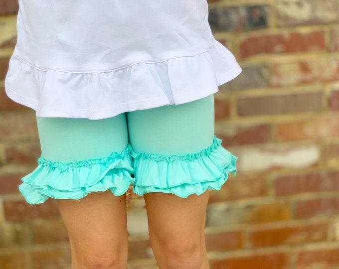 Ice Mint Ruffle Shorties, Mint aqua Ruffle Shorts - knit ruffle shorties sizes 6m to girls 10 - Free Shipping