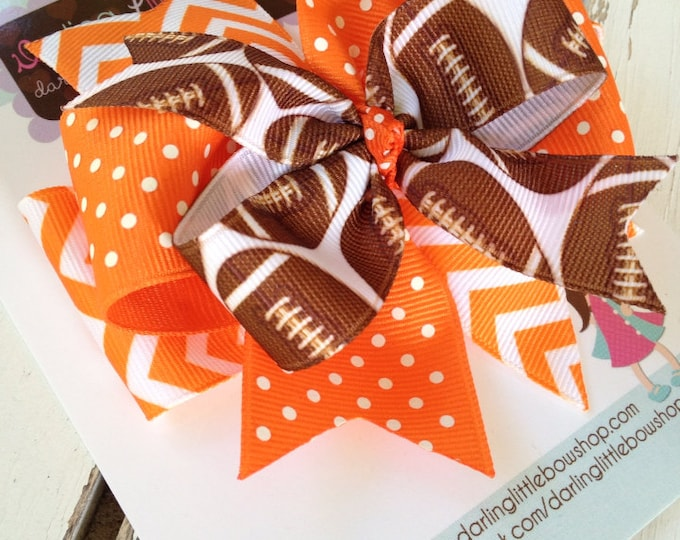 Football bow for girls - football theme in your team colors -- layered football hairbow with optional headband