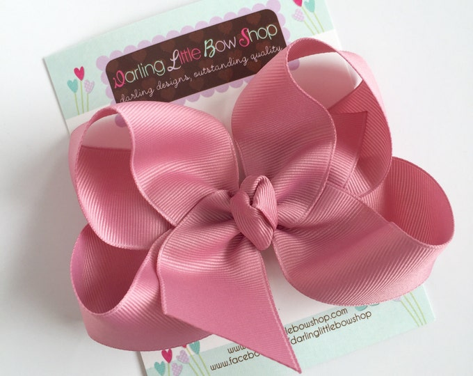 "Mauve Bow, Mauve Hairbow -- choose 3"" 4"" 5"" or 6"" bow -- AMAZING quality handmade in Tennessee -- perfect match for Matilda Jane"