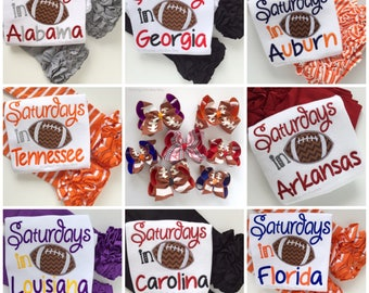 Girls Football Shirt or bodysuit  - Saturdays are for Football - choose your team colors, custom changes welcome