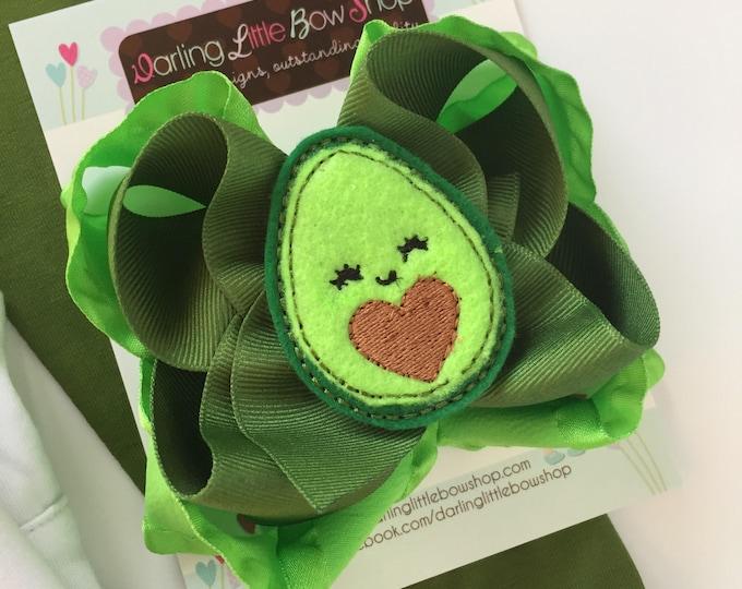 "Avocado Bow, Avocado Hairbow  -- Avocado Love -- 5"" double bow with sweet avocado center"