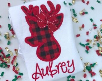 Girls Buffalo Plaid Christmas shirt or bodysuit -- Buffalo Plaid Reindeer -- buffalo plaid deer shirt for girls