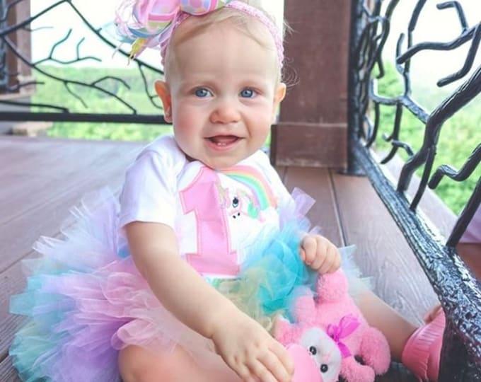 Unicorn Birthday Outfit, Pastel Rainbow Unicorn Tutu Outfit - Magical Birthday - unicorn bodysuit, leg warmers, tutu and bow