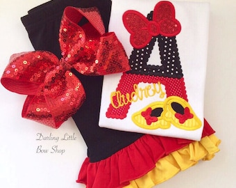 Miss Mouse shirt, tank or bodysuit for girls -- Those Shoes -- Initial shirt in red, black and yellow