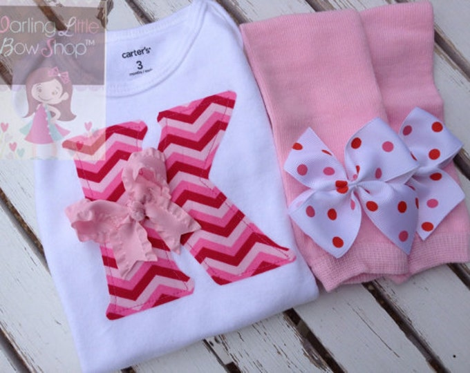 Baby Girl Outfit for Valentines' Day -- Valentine Chevron -- Leg warmers and Initial Bodysuit in red, pink and hot pink