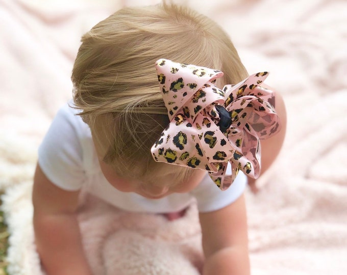 """Pink and Gold Leopard Print hairbow -- choose 4-5"""" or double stacked bow -- AMAZING quality handmade in Tennessee"""