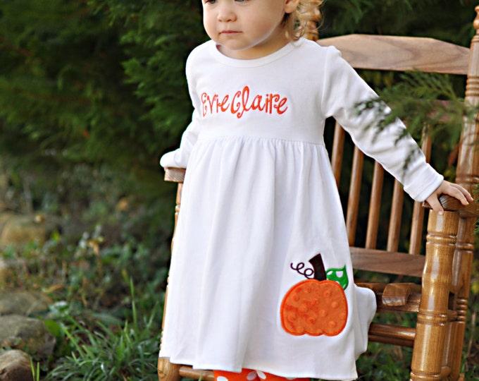 Pumpkin Dress-- Pretty Little Pumpkin -- long sleeve pumpkin dress with name-- great for pumpkin patch, Fall and Thanksgiving