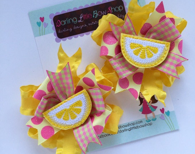 Lemonade hairbows -- Lemonade Stand --  Lemonade theme hairbow choose single bow or pigtail set in yellow and pink with lemon centers