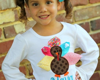 Turkey ruffle shirt for girls - Color Pop Turkey - turquoise, pink, gold and coral - personalized for Thanksgiving