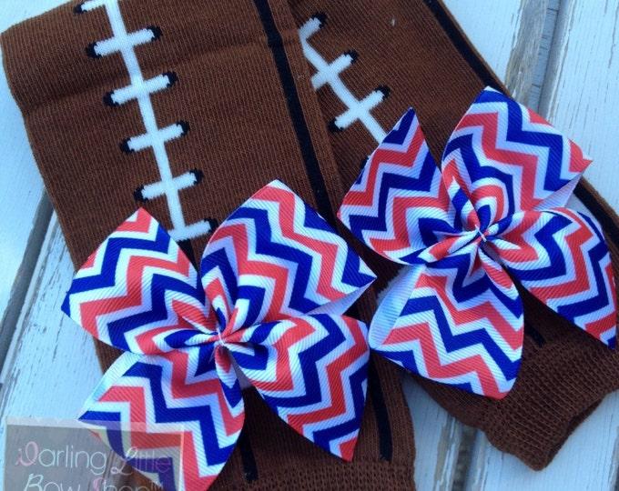Team Leg Warmers -- Royal, Red, White chevron football Leg Warmers -- bow leg warmers for baby girls -- Patriots