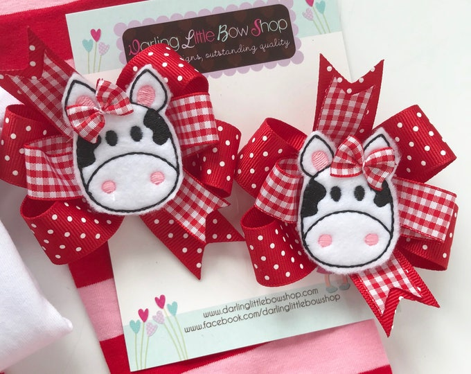 Valentine Bows -- I love Moo --  cow hairbows, Pigtail Bow Set for Valentines Day