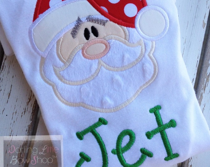 Santa Claus Bodysuit OR Shirt for boys -- Sweet Santa -- red and green Santa Christmas shirt