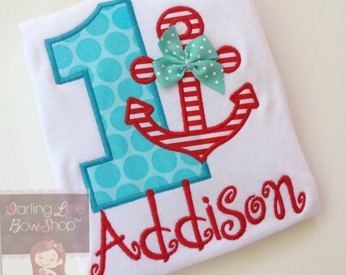 First Birthday Bodysuit or Shirt -- Anchors Aweigh -- red and aqua anchor theme personalized bodysuit or shirt