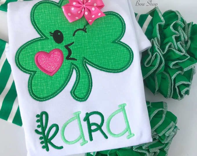 Girls St. Patrick's Day shirt or bodysuit, Irish Kisses Emoji Shamrock shirt, kisses emoji shamrock in pink and green