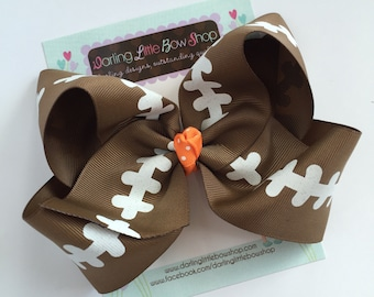 "Football bow, football hairbow -- choose your team color for center, 4-5"" or 6-7"" or 8"" bow"