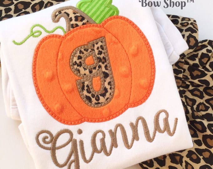 Pumpkin shirt or bodysuit for girls and baby girls -- Pretty Posh Pumpkin -- soft pumpkin with leopard initial and name