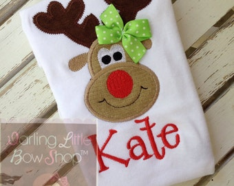 Reindeer Bodysuit OR Shirt for Girls -- Pretty Reindeer -- red and apple green -- Miss Reindeer wears her own bow