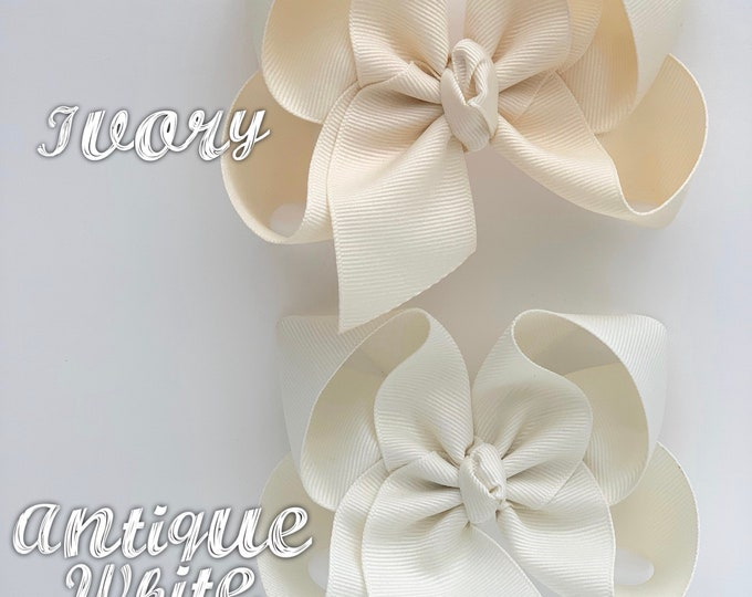 """Ivory Bow, Offwhite Hairbow -- CHOOSE from 2 shades -- 3"""" 4"""" 5"""" or 6"""" bow"""