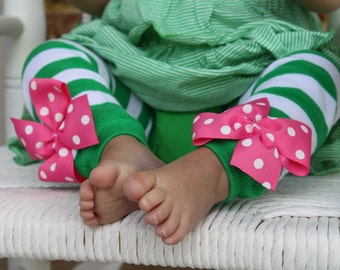 Green and White Leg Warmers with hot pink bows -- Hot Pink and Green