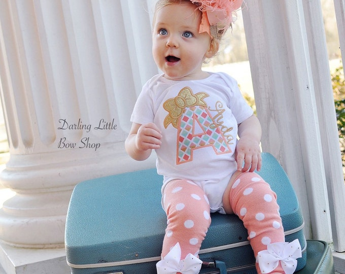 Peach and gold shirt or bodysuit for girls - Peaches & Cream - personalized in peach, coral, mint and gold initial with glitter bow
