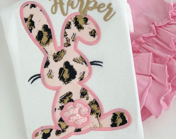 Easter Shirt or Bodysuit for girls -- Sassy Bunny -- Easter Bunny bodysuit or shirt -- pink and gold bunny shirt
