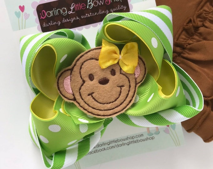 """Monkey Bow -- 5"""" monkey hairbow in green and yellow"""