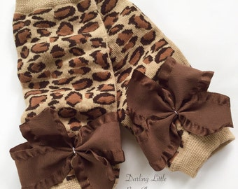 Leopard Print Leg Warmers for baby girls and newborns -- leopard print with choice of brown, turquoise, red or fuschia ruffle bows