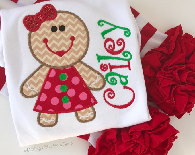Girls Gingerbread shirt or bodysuit -- Gingerbread shirt in fun red, green and pink fabrics with her name, matching brother shirt available
