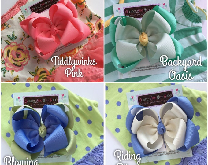 "Double Stacked Bows to Match Matilda Jane The Adventure Begins -- choose 5"" or 6"" bows -- AMAZING quality handmade in Tennessee"