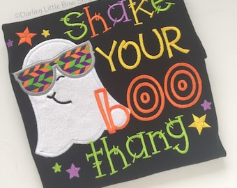 Shake Your BOO Thang Boy's Halloween shirt or bodysuit - super fun ghost shirt in black, lime, orange, yellow and purple