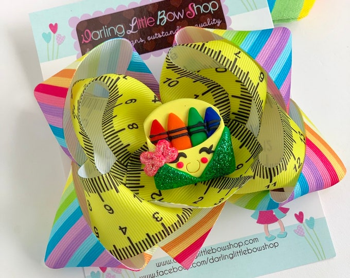 Crayon Bow - Cutest Crayon in the Box - rainbow bow with clay crayon box center