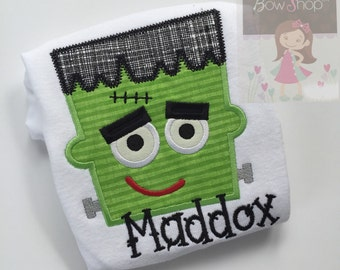 Halloween shirt or bodysuit for babies, boys and girls - Monster Mash - fun Frankenstein  in lime green and black with name