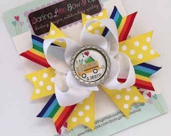Back to School Bow --- I Love School  --- yellow polka dot and rainbow ribbon -- cute bow to start kindergarten or preschool