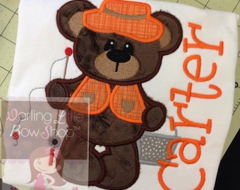 Boys fishing shirt or bodysuit for Summer -- Fisherman Cutie - fishing shirt with brown bear in orange and brown, great for camping trip