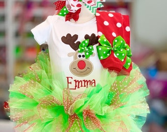 Baby Girl Christmas Tutu outfit -- Pretty Reindeer -- reindeer bodysuit, tutu, leg warmers and bow - red and apple green
