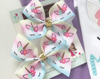 Unicorn Bow, small unicorn hairbow in pastel pink, purple, blue and gold pigtail set option
