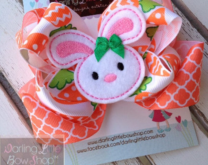Easter Bunny Bow -- Carrots & Cream -- Large Double Bow with Bunny Center -- coral, white and emerald green