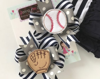 Baseball Bows -- Baseball Hairbow Set --  Pigtail Bow Set in your team colors
