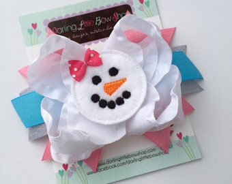 Snowman Bow -- Sweet snowman hairbow in pink, silver and blue-- optional satin elastic headband
