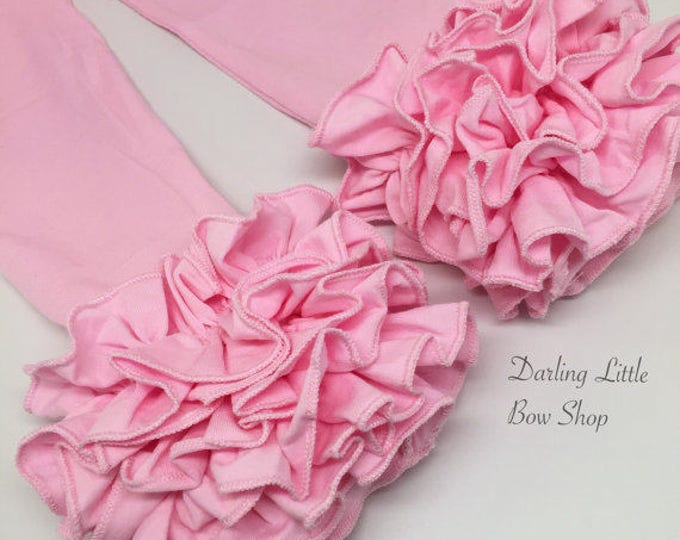 Powder Pink Ruffle Leggings - Pink Ruffle Leggings - gorgeous knit ruffle leggings - size NB to 10 with FREE SHIPPING