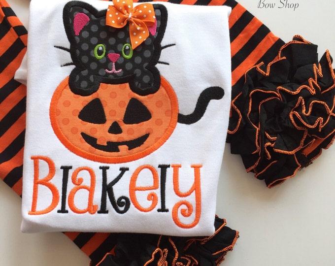BESTSELLER Halloween shirt or bodysuit for girls and baby girls -- Halloween Kitty -- orange and black cat shirt