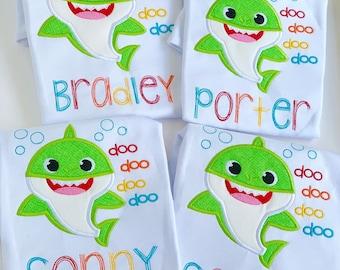 Boys baby shark shirt or bodysuit sizes newborn to 8
